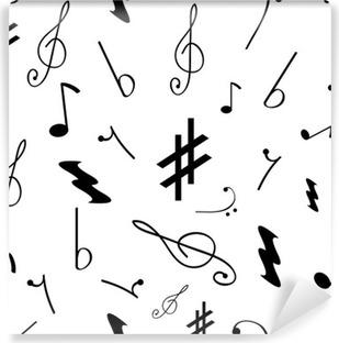 Mural de Parede Autoadesivo Seamless com vários símbolos de música