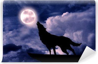 Mural de Parede Autoadesivo Wolf howling at the full moon