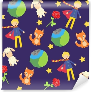 Mural de Parede em Vinil background with The little prince characters