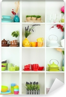 Mural de Parede em Vinil Beautiful white shelves with tableware and decor.