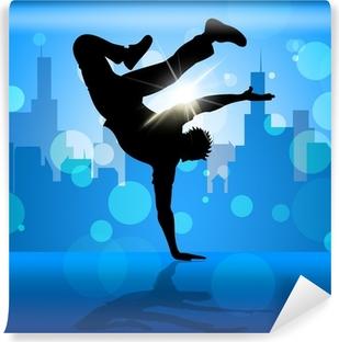 Mural de Parede em Vinil Break Dancer Indicates Street Dancing And Breakdancing