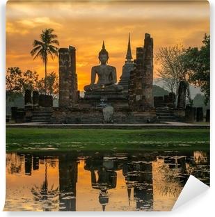 Mural de Parede em Vinil Buddha statue in Wat Mahathat temple, Sukhothai Historical Park,