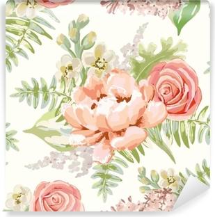 Mural de Parede em Vinil Buquês rosa pálido no fundo branco. Padrão vetorial sem costura com flores delicadas. peônia, rosa, lilás, gillyflower. Cores pastel. ilustração desenhada à mão.