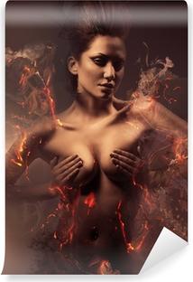 Mural de Parede em Vinil burning erotic sexy beautiful woman in dirty mist