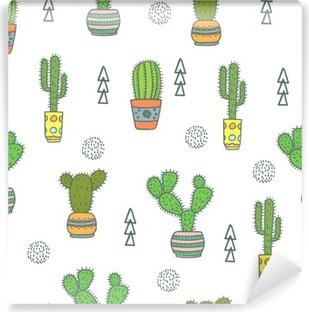 Mural de Parede em Vinil Cactus padrão sem emenda. Doodle flores coloridas em potes. Fundo do vetor com o cacto bonito.