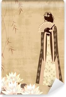 Mural de Parede em Vinil Chinese girl on the old grunge paper