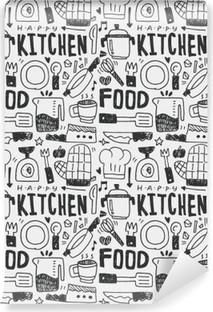 Mural de Parede em Vinil Cozinha elementos doodles mão linha traçada ícone, eps10