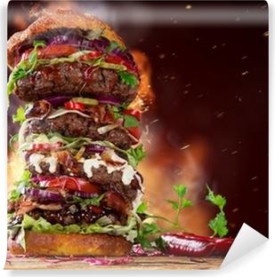 Mural de Parede em Vinil delicious big hamburger on wood