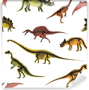 Mural de Parede em Vinil Dinossauros e pterodáctilos tipos de animais sem costura padrão isolado no vetor de fundo branco.