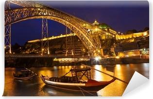Mural de Parede em Vinil Dom Luis I bridge over Douro river at night. Porto, Portugal