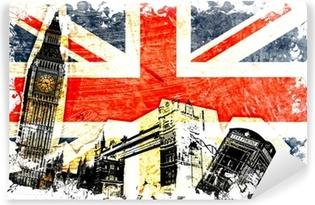 Mural de Parede em Vinil drapeau anglais decoupe