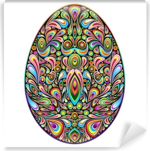 Mural de Parede em Vinil Easter Egg Psychedelic Art Design Uovo di Pasqua Ornamentale