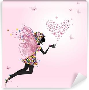 Mural de Parede em Vinil Fairy with a valentine of butterflies