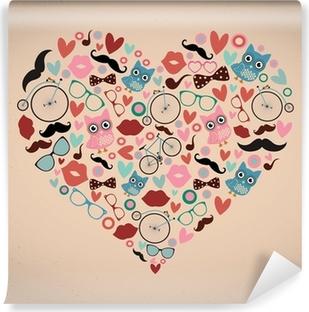 Mural de Parede em Vinil Hipster Doodles Set in Heart Shape