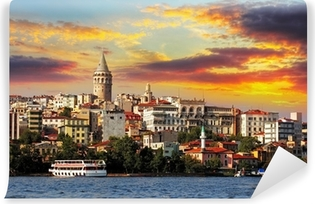 Mural de Parede em Vinil Istanbul at sunset - Galata district, Turkey