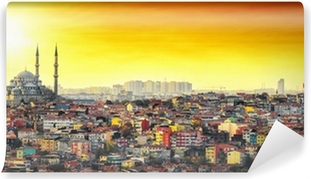 Mural de Parede em Vinil Istanbul Mosque with colorful residential area in sunset