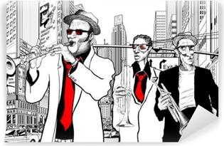 Mural de Parede em Vinil jazz band in a street of new-York