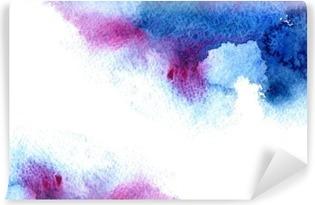 Mural de Parede Lavável Abstrato azul e violeta aguado frame.Aquatic backdrop.Hand desenhado da aguarela respingo stain.Cerulean.