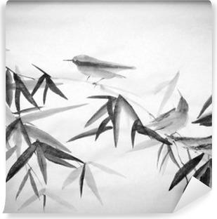 Mural de Parede Lavável Bambu e três birdies ramo