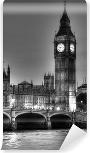Mural de Parede Lavável Black and White photo of Big Ben, London, United Kingdom