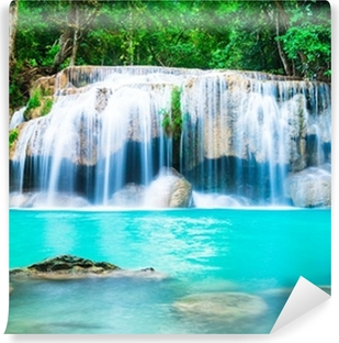 Mural de Parede Lavável Cachoeira na selva na província de Kanchanaburi, Tailândia
