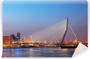Mural de Parede Lavável Erasmus Bridge in Rotterdam at Twilight