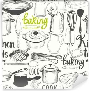 Mural de Parede Lavável Fundo sem emenda com utensílios de cozinha e ferramentas. Teste padrão do menu.