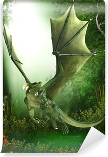 Mural de Parede Lavável green dragon just flying