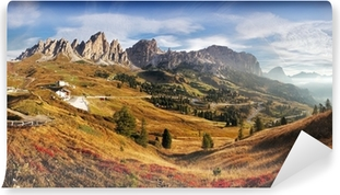 Mural de Parede Lavável Mountain panorama in Italy Alps dolomites - Passo Gardena