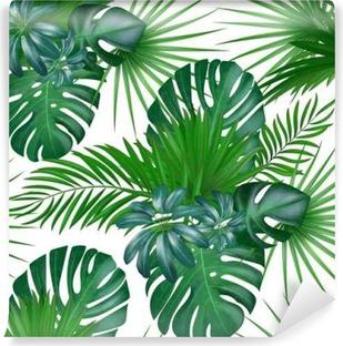 Mural de Parede Lavável Padrão de vetor exótico botânico realista desenhado à mão sem costura com folhas de palmeira verdes isoladas no fundo branco.