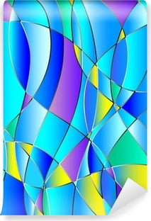 Mural de Parede Lavável Stained glass texture, blue tone, background vector
