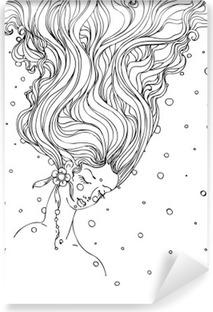 Mural de Parede Lavável Tirados mão do doodle da tinta meninas enfrentam e cabelo de fluxo no fundo branco. design para adultos, cópia, t-shirt, convite, banners, folhetos. esboço. vector EPS 8.