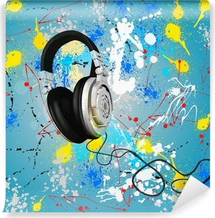 Mural de Parede Lavável vector abstract headphones composition