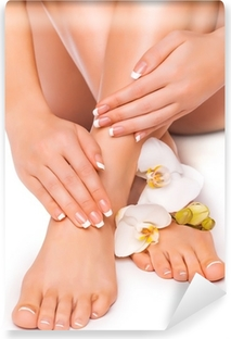 Mural de Parede em Vinil manicure and pedicure with white orchid. isolated