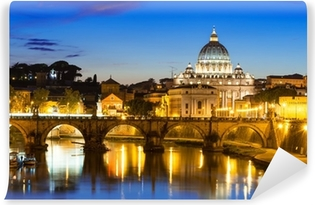 Mural de Parede em Vinil Night view of Basilica St Peter and river Tiber in Rome in Italy