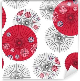 Mural de Parede em Vinil Padrão sem emenda de guarda-chuva japonês. ilustração do vetor
