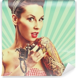 Mural de Parede em Vinil Pin-Up girl with tattoos