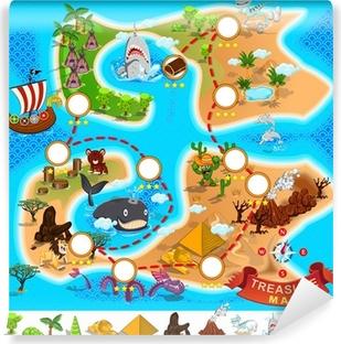 Mural de Parede em Vinil Pirate Treasure Map