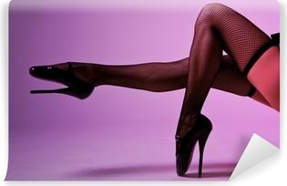Mural de Parede em Vinil Sexy female legs in fishnet stockings and extreme fetish ballet