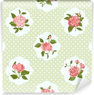 Mural de Parede em Vinil Shabby Chic Rose Pattern and seamless background.