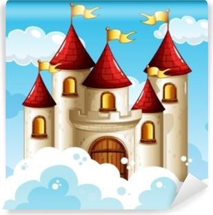 Mural de Parede em Vinil Um castelo de conto de fadas no céu