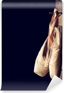 Mural de Parede em Vinil Used ballet shoes hanging on wooden background