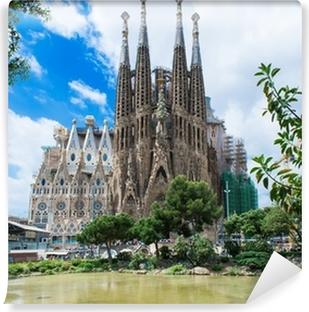 Mural de Parede em Vinil view of Sagrada Familia in Barcelona. Spain