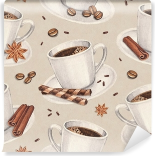 Mural de Parede em Vinil Watercolor illustrations of coffee cup. Seamless pattern