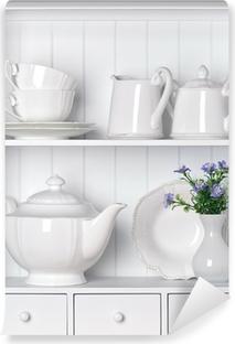 Mural de Parede em Vinil White shelf with vintage porcelain tableware