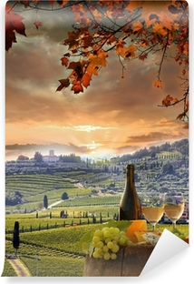Mural de Parede em Vinil White wine with barell in vineyard, Chianti, Tuscany, Italy