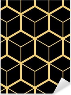 Naklejka Pixerstick Abstrakcyjne geometryczne tło. sześciokątna siatka z osadzonymi komórkami. wektorowa bezszwowa ilustracja. rytmiczny wzór powtarzalny. nowoczesny styl dla szablonów geometrycznych