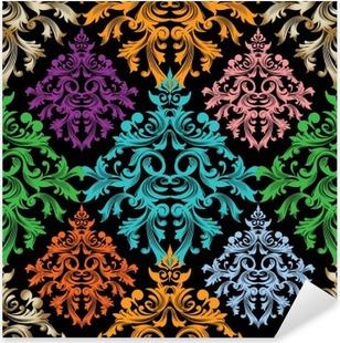 Naklejka Pixerstick Adamaszek pattern.Colorful kwiatów wektora adamaszku bez szwu barokowy pattern.Damask wallpaper.Damask tła.