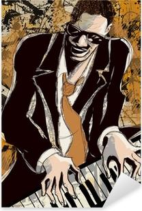 Naklejka Pixerstick Afro amerykański pianista jazzowy