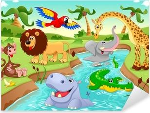 Naklejka Pixerstick Afrykańskie zwierzęta w dżungli.